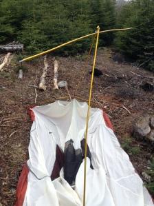 First night, broken tent.